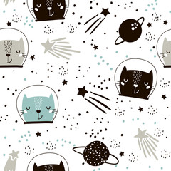 Tapeta Seamless childish pattern with cute cats astronauts. Creative nursery background. Perfect for kids design, fabric, wrapping, wallpaper, textile, apparel