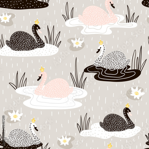 Cotton fabric Seamless childish pattern with swan princess on lake,Creative nursery background. Perfect for kids design, fabric, wrapping, wallpaper, textile, apparel