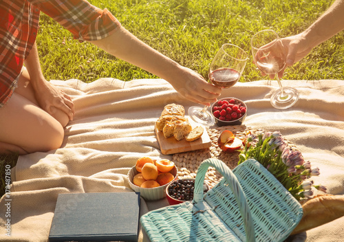 Aluminium Prints Picnic Couple in love drinking red wine on picnic