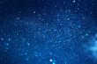 canvas print picture - blue glitter vintage lights background. defocused