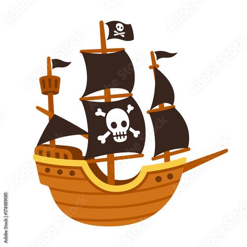 Cuadros en Lienzo Pirate ship cartoon
