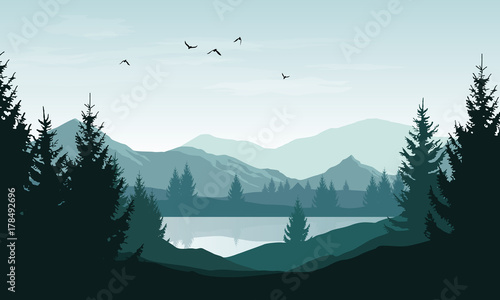 Fototapeta Vector landscape with blue silhouettes of mountains, hills and forest and sky with clouds and birds obraz