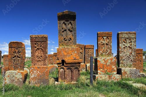 Khachkars in Noratus cemetery, Armenia Canvas Print