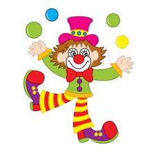 Vector Funny Clown Juggling