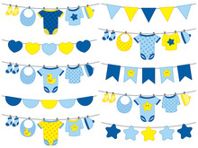 Vector Baby Boy Clothes Hangin...