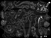 Vector Chalkboard Safari Animals Set. Vector Jungle Set On Blackboard Background