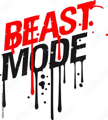 Tropfen Graffiti Blut Spray Beast Mode Cool Design Gym Text