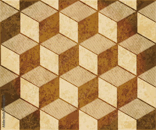 retro-brazowy-akwarela-tekstury-grunge-bezszwowe-tlo-3d-szesciennych-linii-kwadratowych