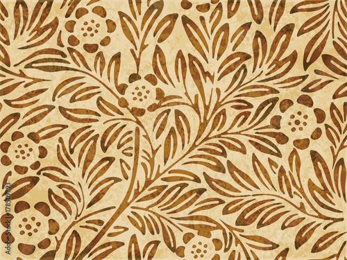 Αφίσα  Retro brown watercolor texture grunge seamless background botanic flower leaf pl