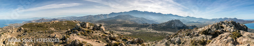 Fotografie, Obraz  Panoramic view of Monte Grosso and the mountains of Corsica