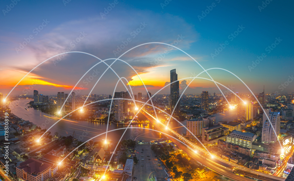 Fototapety, obrazy: city scape and network connection concept