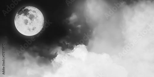 Plakat Czarny i biały artystyczny panorama widok piękna fantazi księżyc i pozaziemski chmury tło Wizerunek księżyc meblujący NASA.
