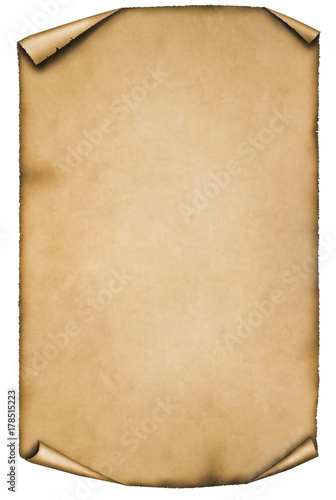 Photo  vintage parchment isolated on white background