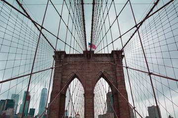 NYC New York City Views Cloudy Brooklyn Bridge
