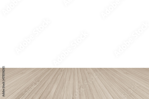 wood floor perspective. Wood Floor Perspective View With Wooden Texture In Light Sepia Brown Color Isolated On White Wall