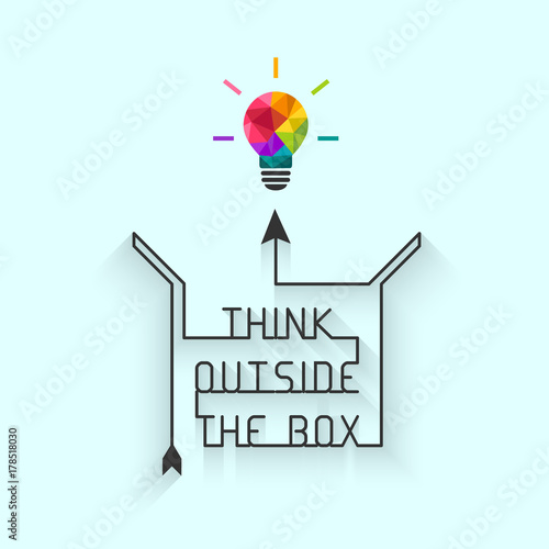 Foto  Think outside the box concept with saying and colorful lightbulb