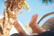 Cute Little Baby Feet Against ...