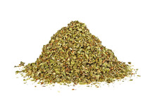 Pile Of Dried Marjoram Leaves On A White Background