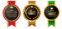 Vector Vintage Badges Collection Of High Quality, Best Product,,premium Product,best Seller . Gold And Black Colour