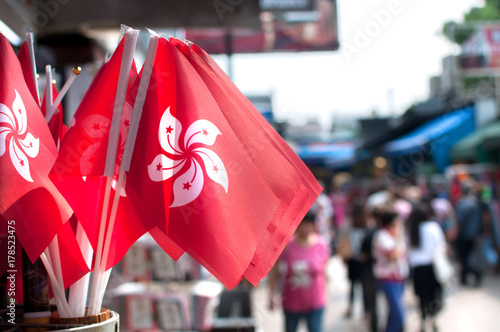 Deurstickers Hong-Kong Souvenir Hong Kong national flags at Stanley Market, Hong Kong