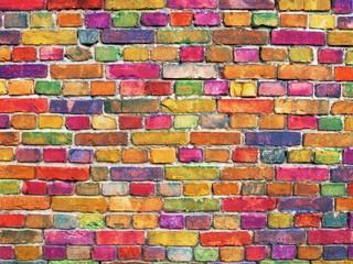 Fototapeta Tło / Tekstura / Desenie multicolor brick wall, bright color stone surface background