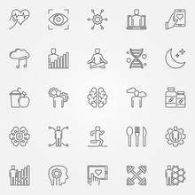 Biohacking Vector Icons Set In Thin Line Style