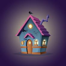 Witches Hut Design. Cartoon Il...