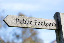 Public Footpath Wooden Rustic Direction Sign