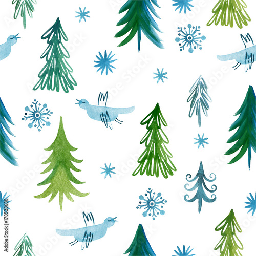Cotton fabric Christmas trees, seamless pattern