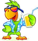 Fototapeta Fototapety na ścianę do pokoju dziecięcego - Exotic cartoon parrot with sunglasses holding glass of orange juice