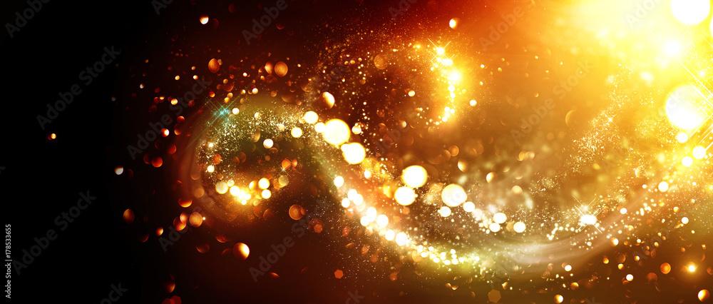 Fototapety, obrazy: Christmas background. Golden glittering stars swirls over black background