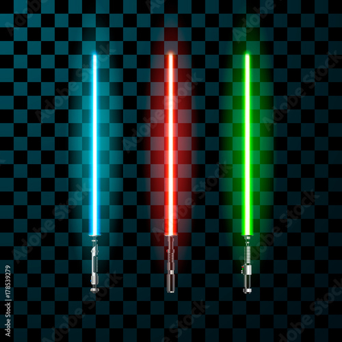 Fotografie, Obraz Set of realistic light swords. Vector illustration