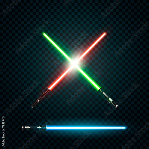 Fotografie, Obraz Set of realistic light swords