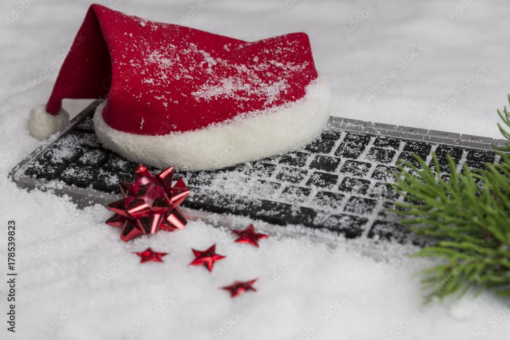 Fotografia Weihnachten, Mütze, Tastatur