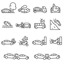 Road Accident Icon Set. Accide...