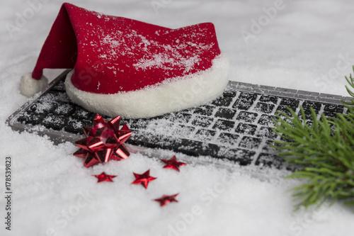 Weihnachten, Mütze, Tastatur Slika na platnu