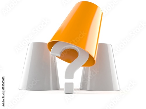 Fotografia  Question mark with three cups