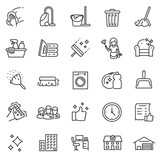 Cleaning service, icon set, services for cleaning and laundry in various rooms. Icons for the website.Line with editable stroke