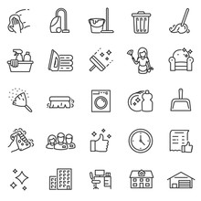 Cleaning Service, Icon Set, Se...