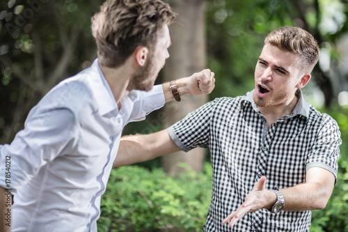 Fototapeta businessman fight and punch in garden business competition concept