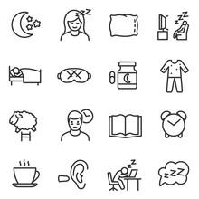 Sleep Icon Set, Thin Line Design. Line With Editable Stroke