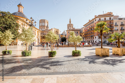 Fototapeta View in the Virgen square with cathedral in the centre of Valencia city during t