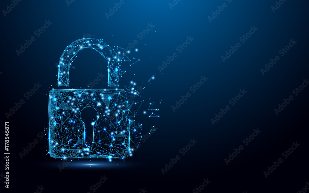 Fototapeta Cyber security concept. Lock symbol from lines and triangles, point connecting network on blue background. Illustration vector