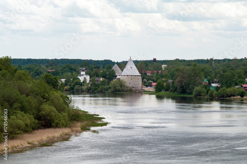 Valokuvatapetti The Volkhov river and the village of Staraya Ladoga, view from the hill of proph