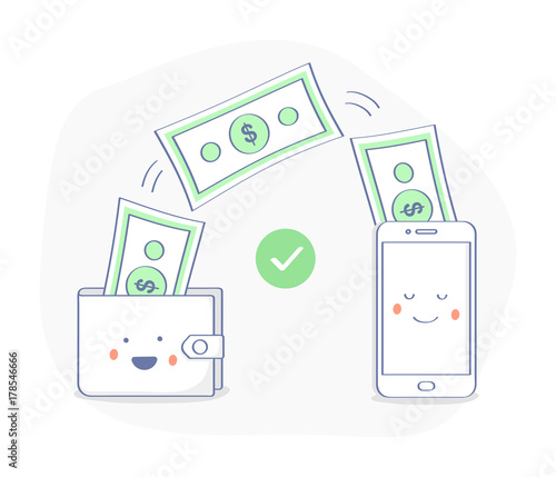 sending and receiving money payments using smartphone money bills fly from a happy wallet to the cute mobile phone successful transaction money transfer concept premium quality flat outline icon buy this smartphone money bills fly