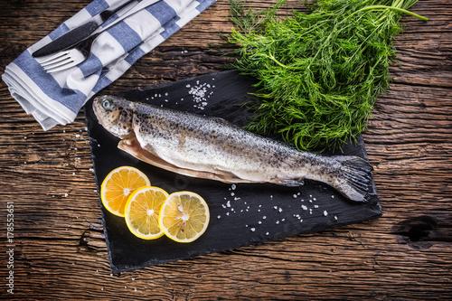 Fototapeta Surowy ryba pstrąg z ziele koperu cytryną i solą na nieociosanym dębowym stole