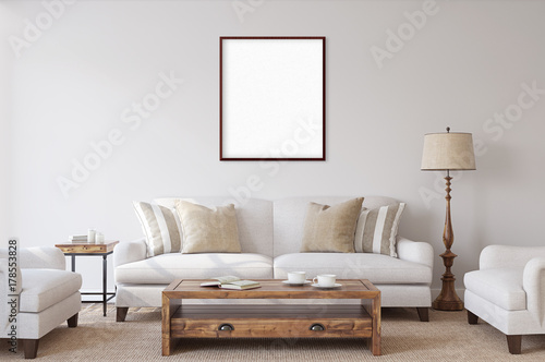 Fotografia, Obraz  White isolated posters with black frame mockup