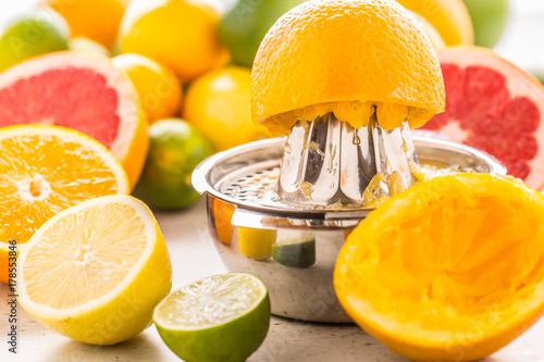 Fototapeta Przygotowanie soku pomarańczowego lub soku multiwitaminowego, dłonie wyciskają sok na ręcznej sokowirówce metalowej otoczonej świeżymi owocami tropikalnymi