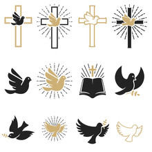 Set Of Religious Signs. Cross ...