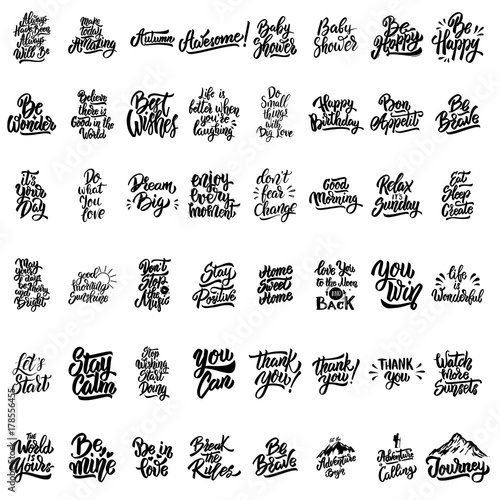 Poster Positive Typography Big set of hand lettering motivational isolated quotes.